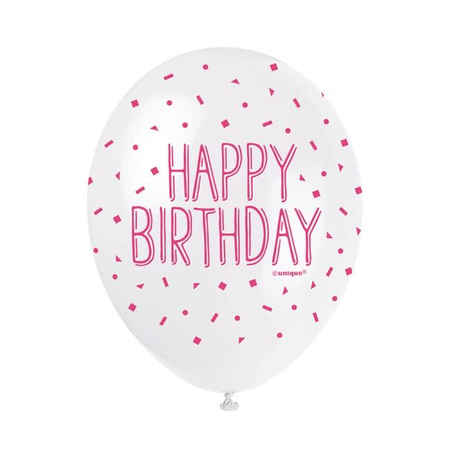 Happy Birthday Pink Mix Balloons Pk5