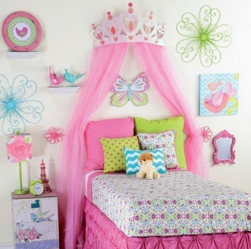 Princess Bedroom Wall Decor : Large quot pink metal crown wall decor over the bed d