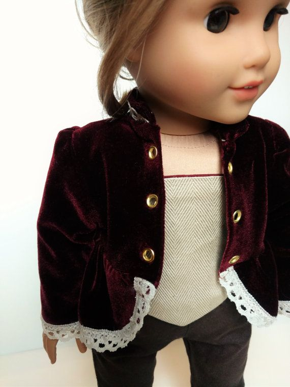 Steampunk/Victorian inspired jacket and corset for 18 dolls*  This jacket is a peplum overcoat with princess seams in the back. The high collar, hem,