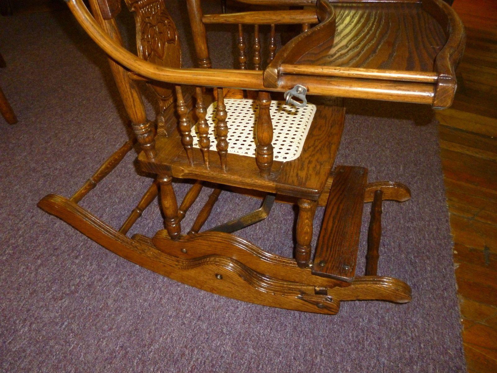 Antique oak rocking chair - Antique Vintage Oak High Chair Rocker Press Back Cane Seat Childs Made In Usa