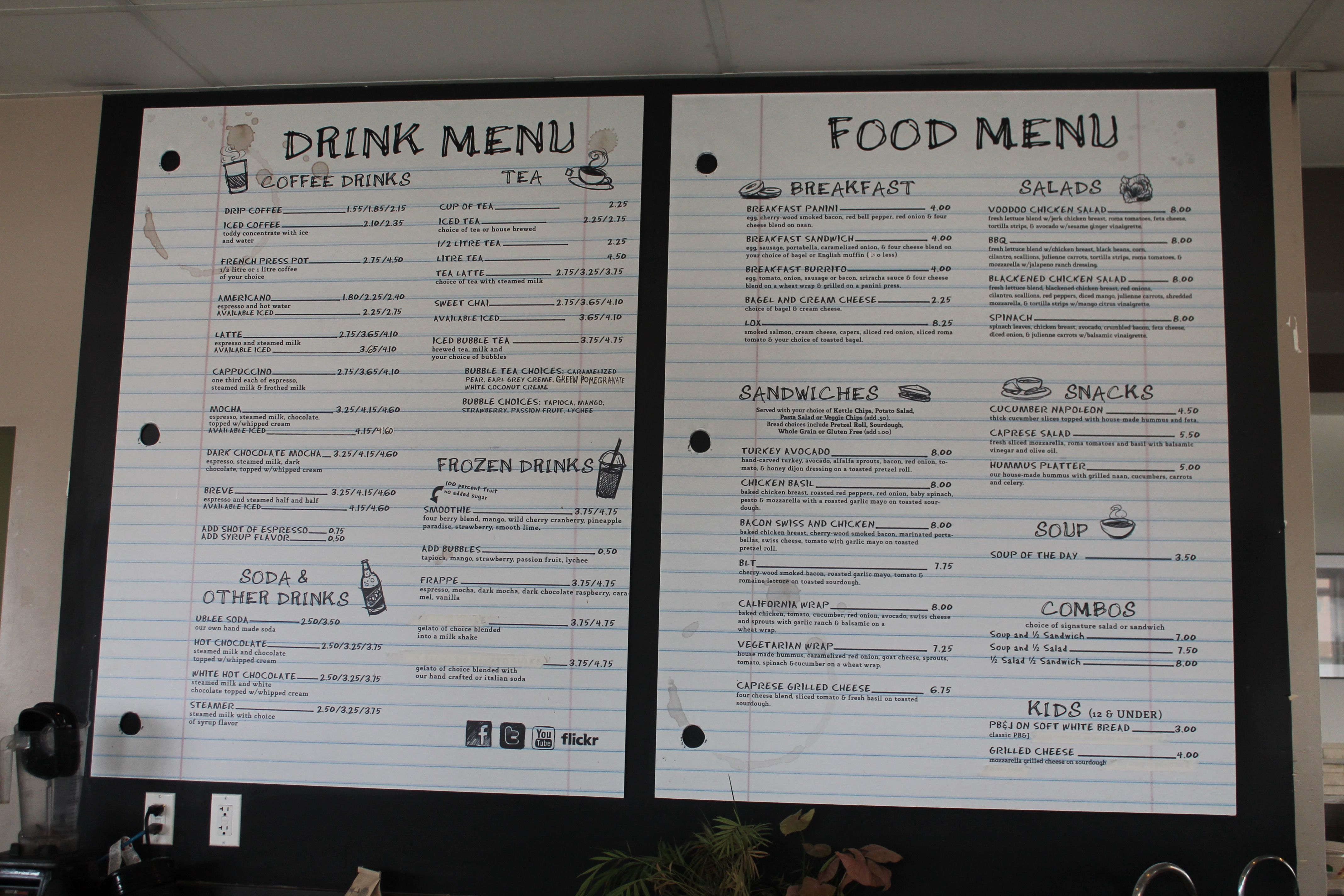 We wanted to create a clever menu board that would compliment their unique, off campus atmosphere. The board was designed to resemble notes and doodles captured in a notebook of a fictional student, complete with coffee cup stains.