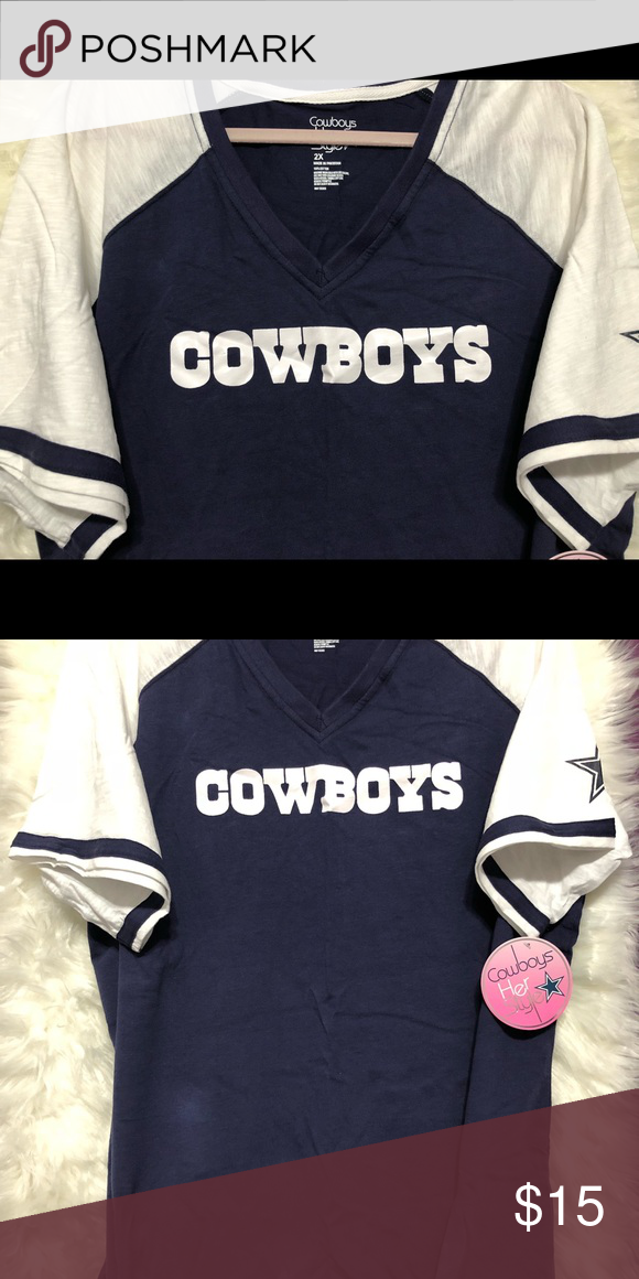 low priced f07bc 25f56 Dallas Cowboys V-Neck T-shirt Navy blue and white T-shirt ...