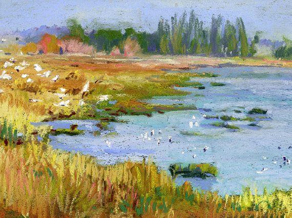 Petaluma Marsh Meadow  Original Pastel by OriginalLandscapeArt, $135.00