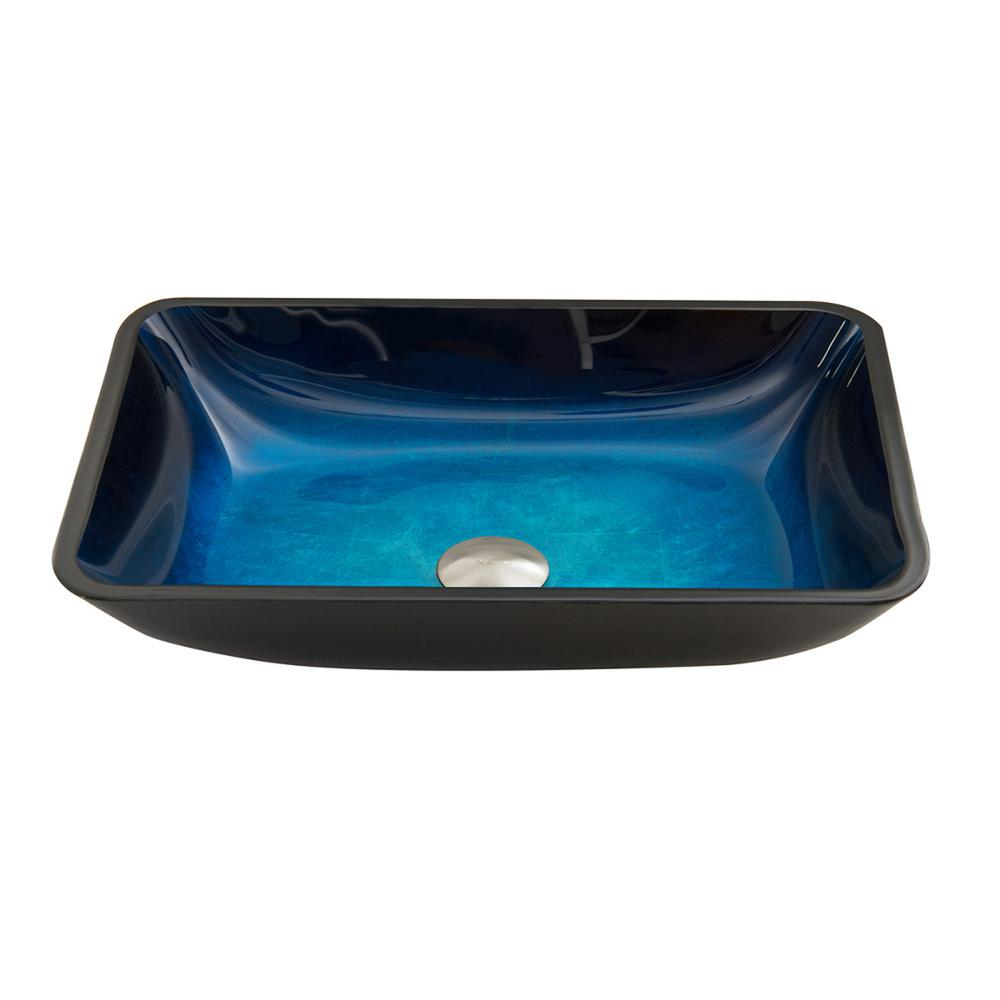 Turquoise Water Handmade Countertop Glass Rectangular Vessel