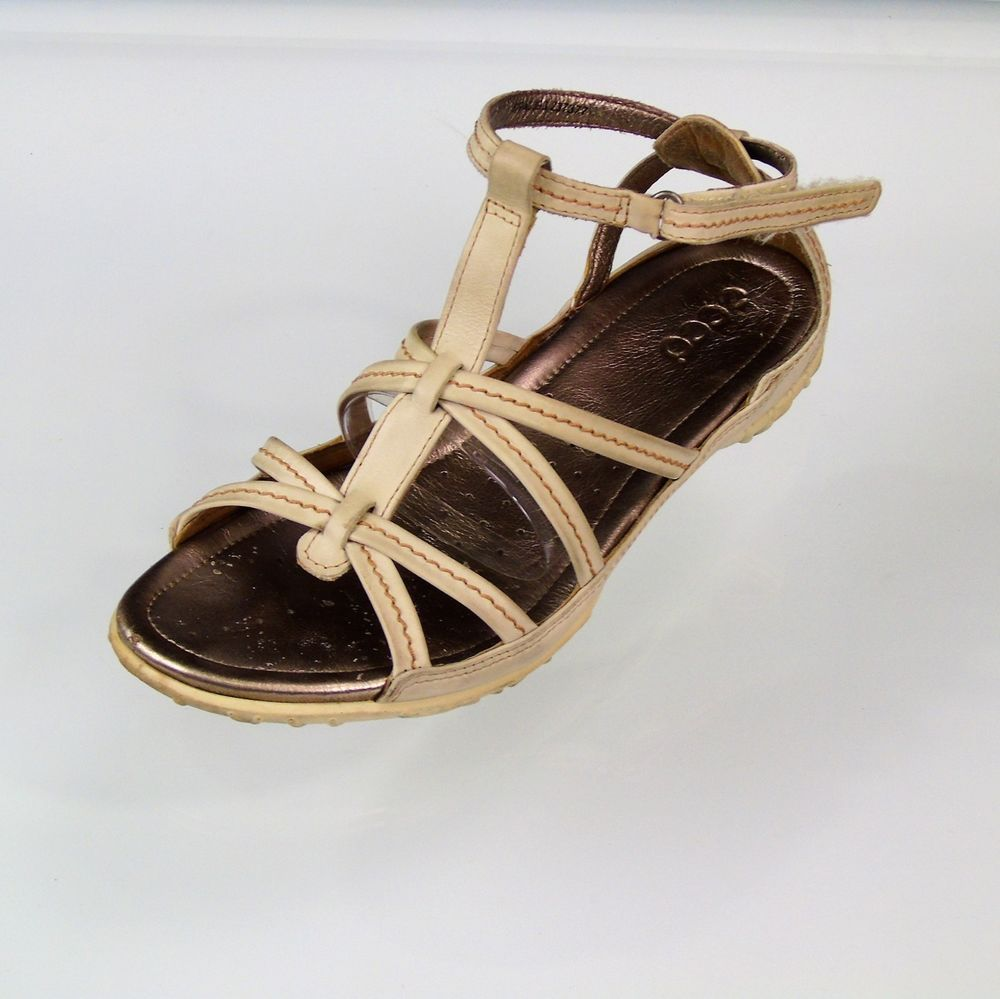 d32e43140a94d ECCO T Strap Nude Leather Sandal Womens Euro 40 US 9.5 #ECCO #TStrapSandals  #Casual