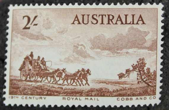 Old West Stamps Australian Style These Introduced By Australia Post In 1955 Feature A Postal Stagecoach With Team Of Horses At Full Gallop