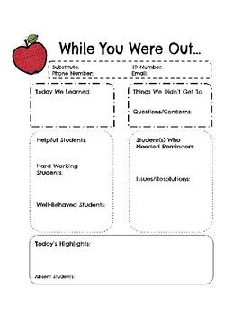 While You Were Out Substitute Teacher Form Teacher Forms