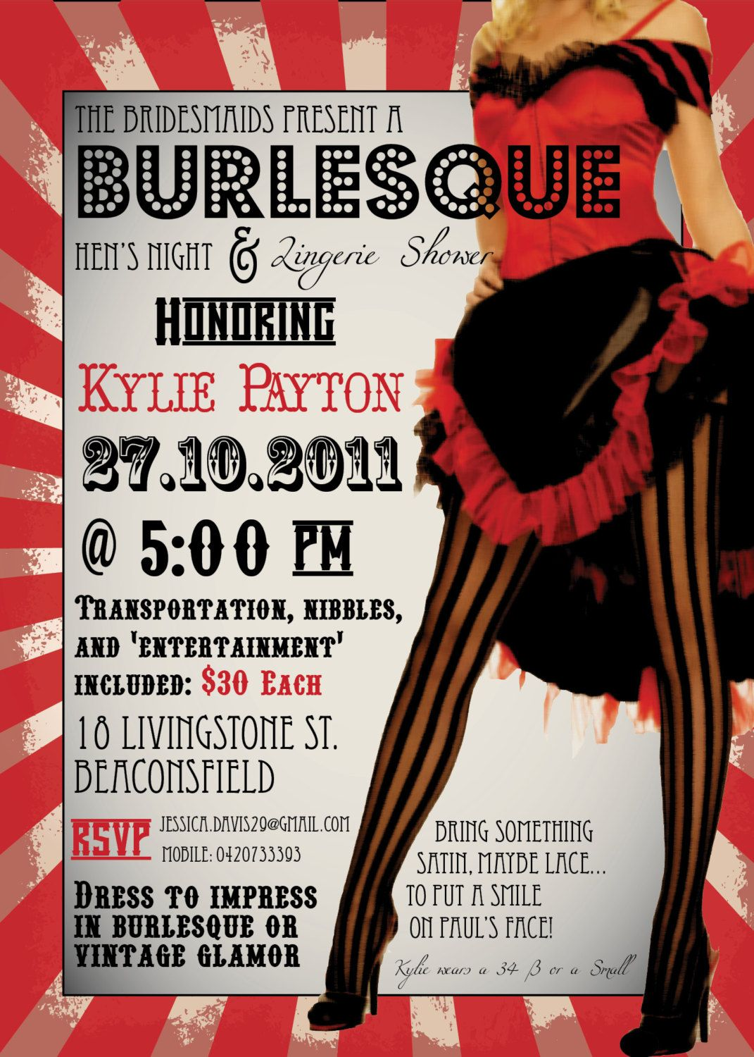 DIY Printable Burlesque Bachelorette Party Invitation. $20.00, via ...
