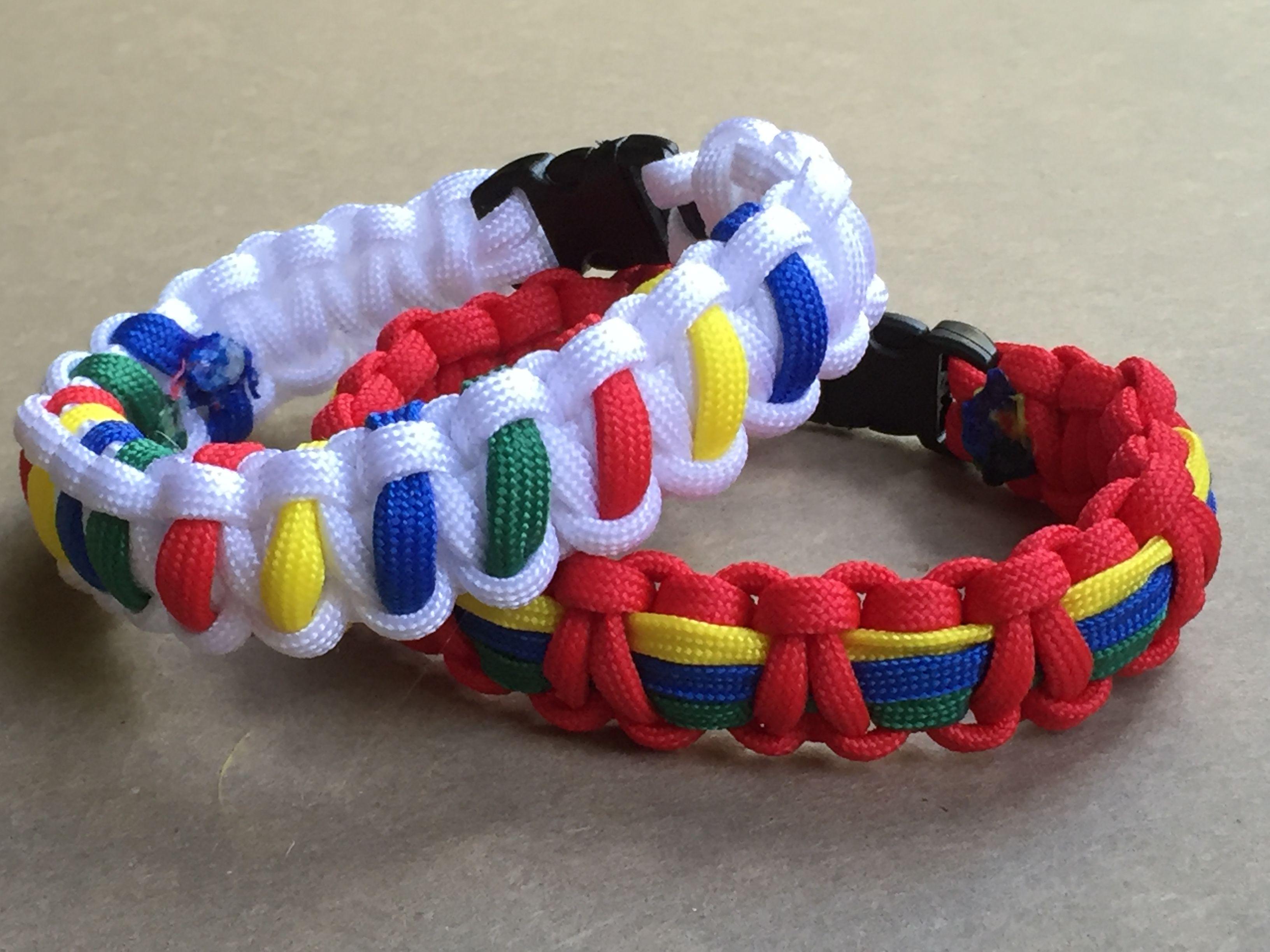 Autism Awareness Paracord Bracelet - Red cobra stitch paracord bracelet with…
