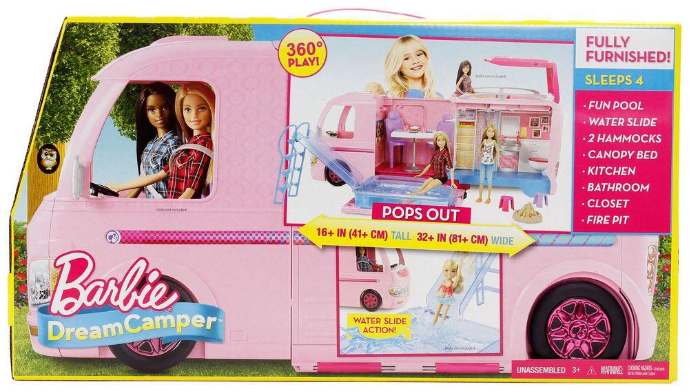 Pink Camping RV VAN NIB Barbie Dream Camper Playset Fully Furnished