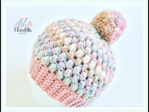 Einfache Mütze häkeln aus Büschelmaschen / Tolle Wintermütze häkeln - Crochet Loops #crochetstitches