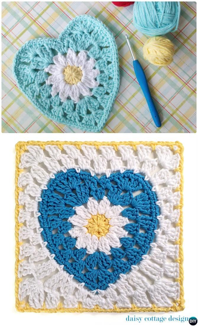 Crochet Daisy Flower Heart Granny Square Free Pattern | Crochet and ...