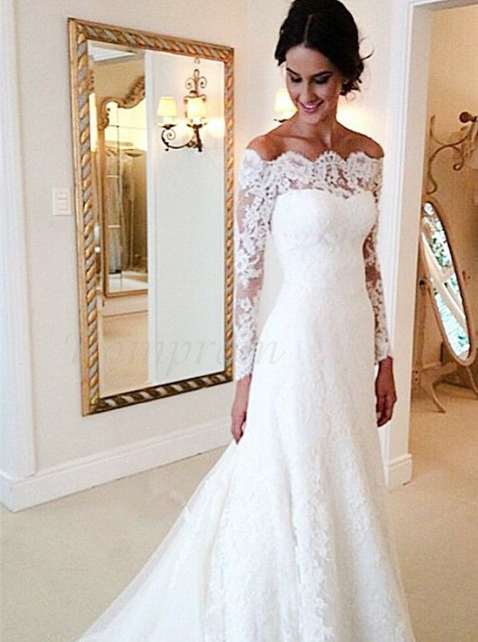 Best Sheath Off The Shoulder Court Train Decent Lace Wedding Dress In Romprom