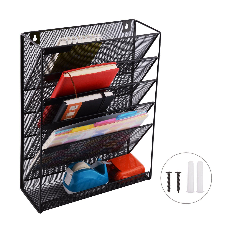 MaxGear Mesh Wall File Organizer Wall Mounted File Holder 5 Tier Metal  Office File Rack Hanging