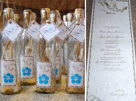 Message in a bottle send well wishes off to sea for the bride and