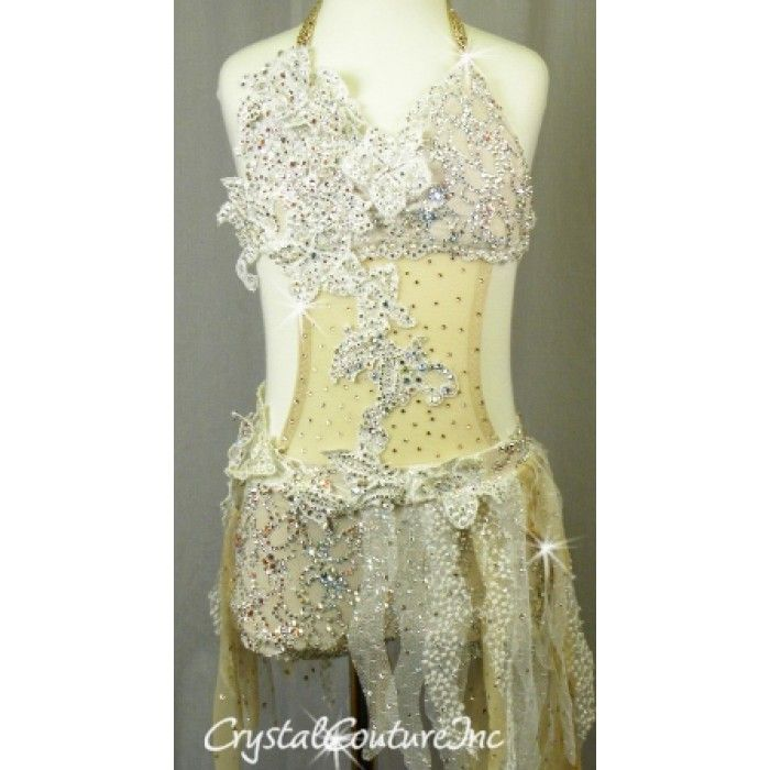 Crystal Couture | White Lace Mesh Bra-Top and Bootie Short/Skirt - Swarovski Rhinestones - Size YM - Costumes