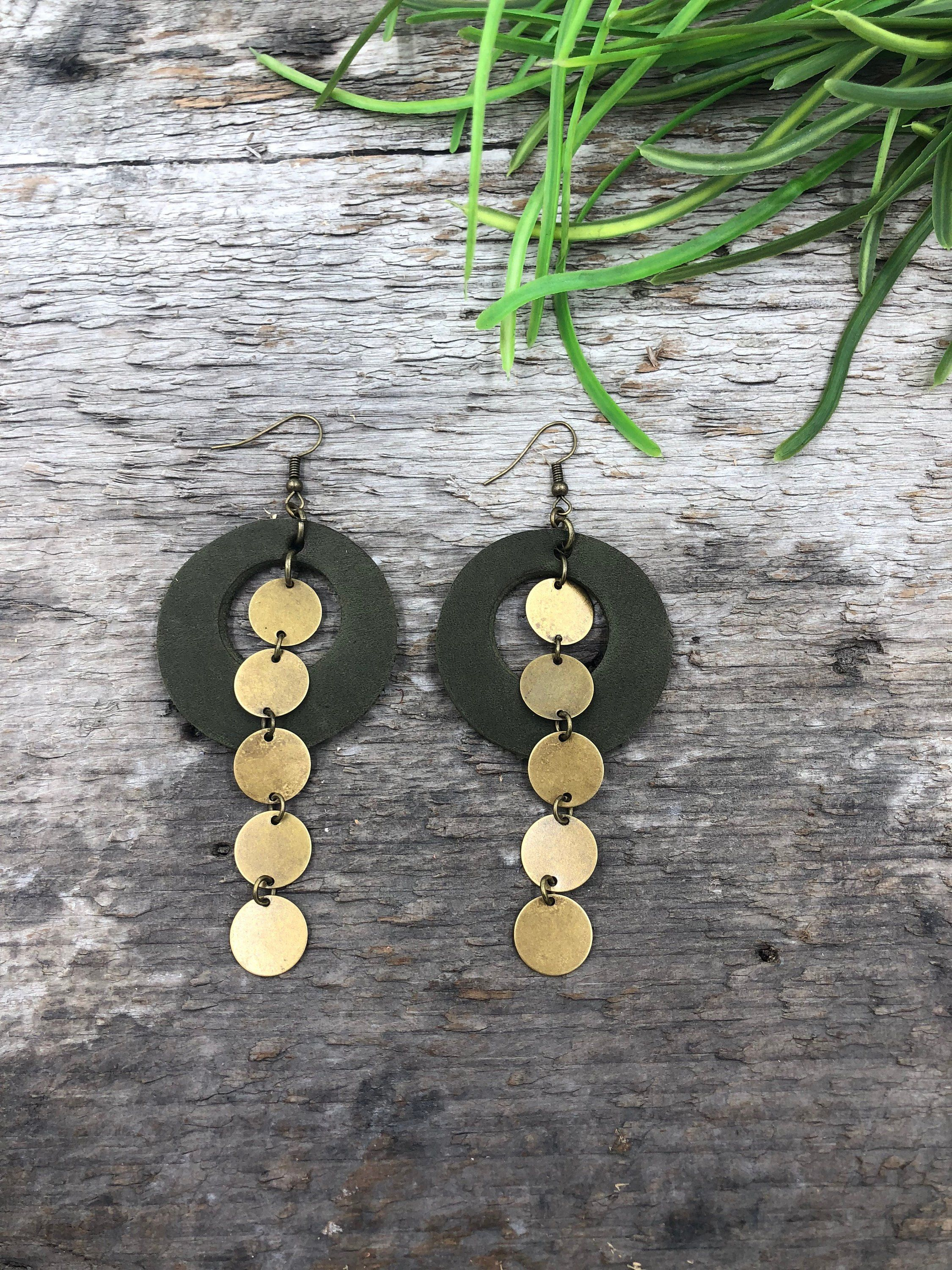 Photo of Statement earrings/statement jewelry/stocking stuffer/Christmas gift/leather earrings/leather jewelry/birthday gift/boutique jewelry/boho