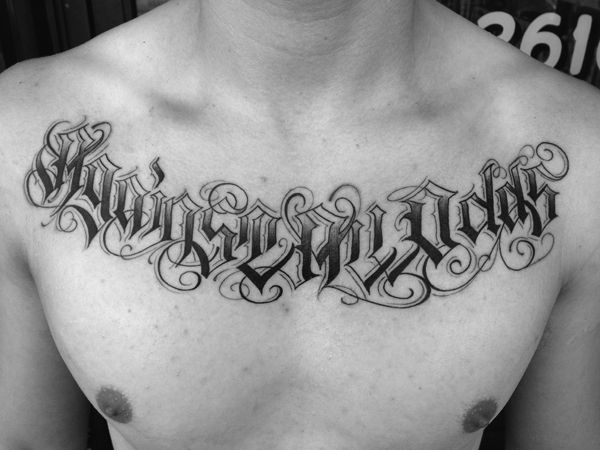 Letters To Live By Tattoos Chest Tattoo Lettering Tattoo Lettering Tattoo Font For Men