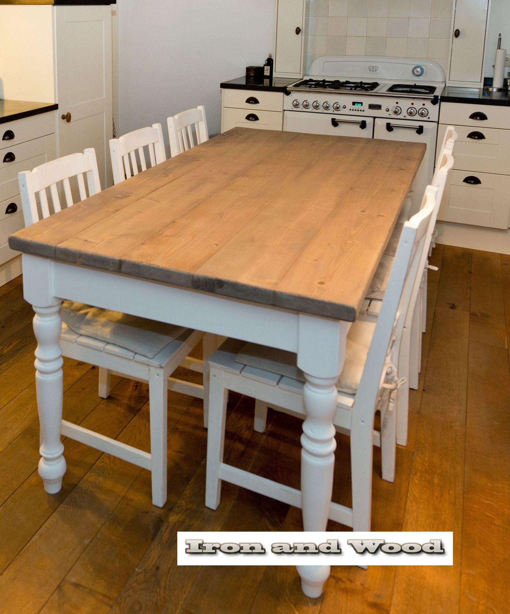 brocante keuken hangkastjes : Landelijke Eettafel Brussel Met Een Nieuw Robuust Eiken Blad Van