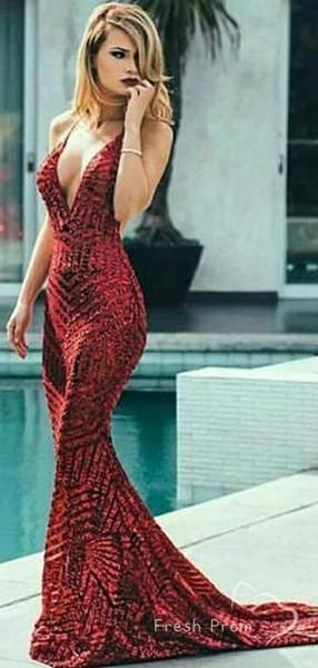 Sexy Mermaid Deep VNeck Backless Sequined Long Prom Dresses,FPPD028 - Burgundy prom dress, Sweet 16 dresses, Mermaid prom dresses, Evening dresses long, Burgundy prom dress mermaid, Sequin prom dresses - Sexy Mermaid Deep VNeck Backless Sequined Long Prom Dresses,FPPD028 The dresses are fully lined, 4 bones in the bodice, chest pad in the bust, lace up back or zipper back are all available, total 126 colors are available This dress could be custom made, there are no extra cost to do custom size and color Description1