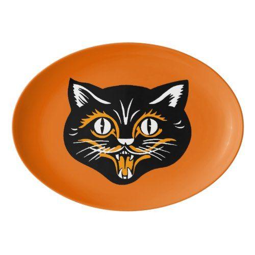 Vintage Classic Halloween Black Cat Face Fangs Porcelain Serving - halloween decorations black cat