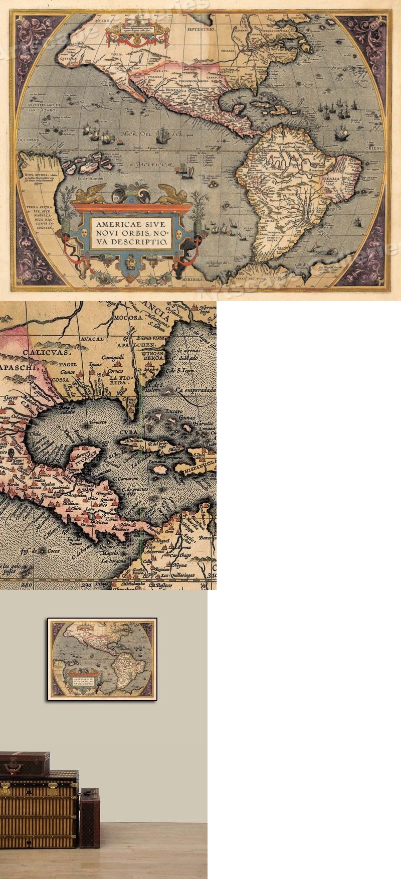 World Maps 98466 Western Hemisphere New World 1598 Vintage Style