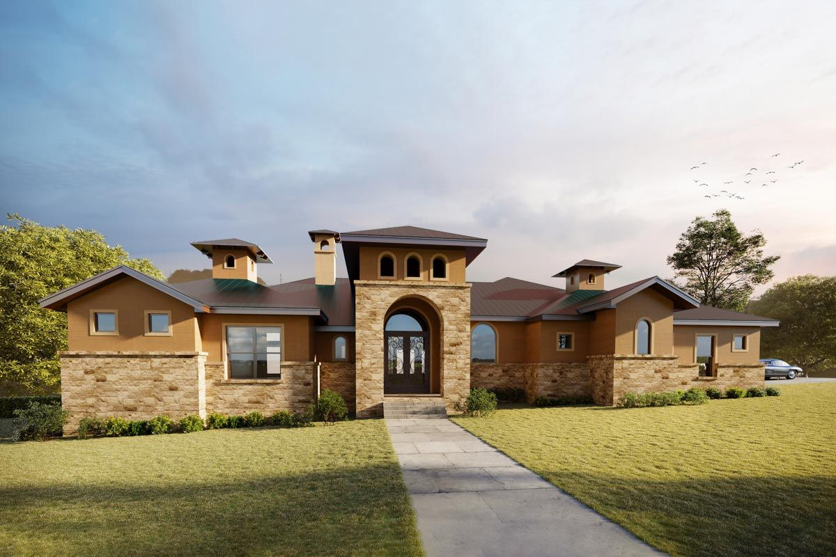 Exclusive Tuscan Hill Country House Plan with Game Room
