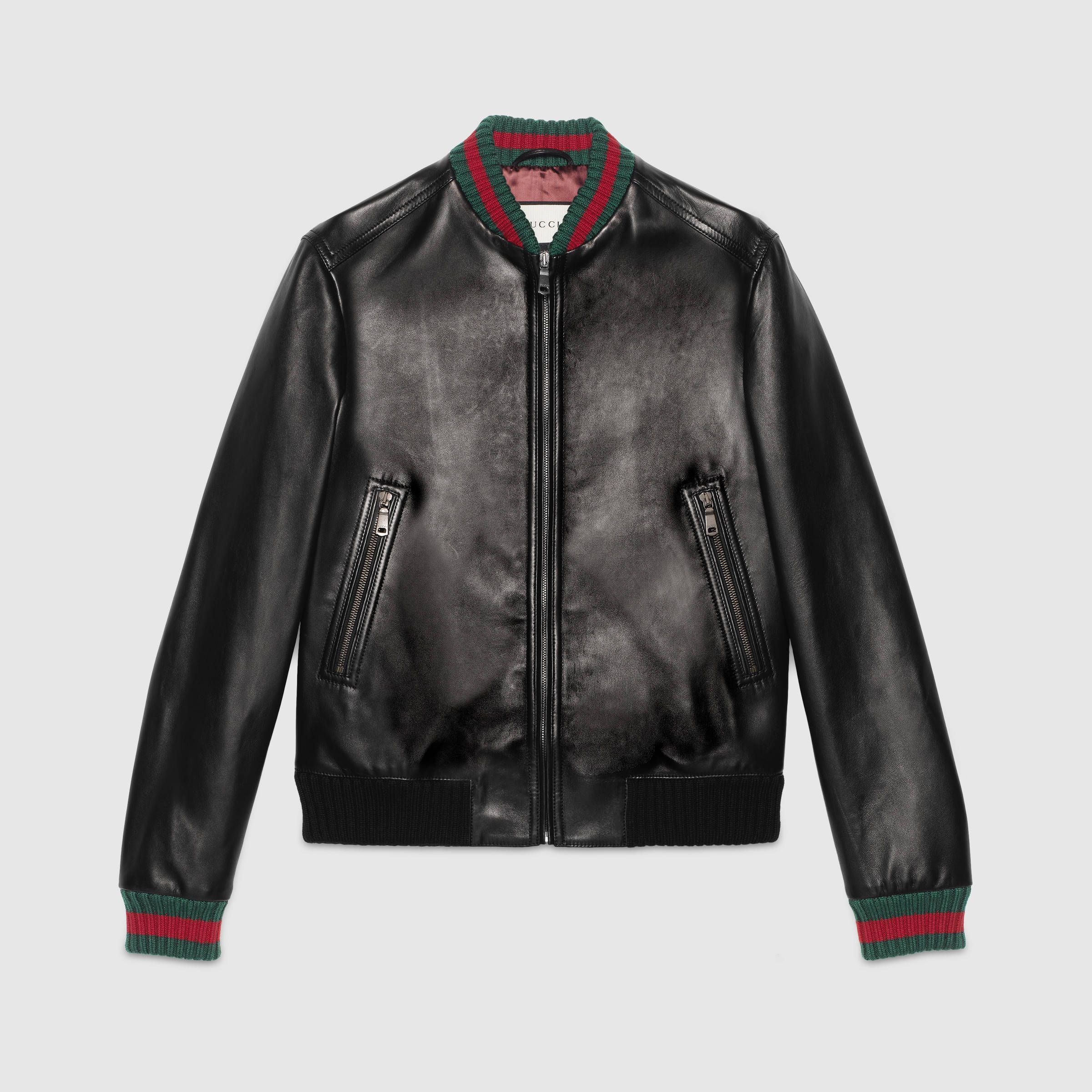 Gucci Leather Jacket With Web Gucci Leather Jacket Leather Bomber Jacket Jackets Men Fashion [ 2400 x 2400 Pixel ]