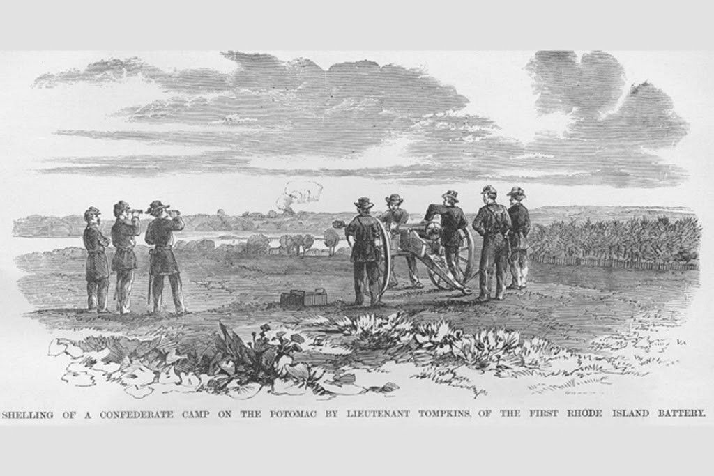 Rhode Island Battery Shells Confederate Camp - Potomac River, by Frank Leslie