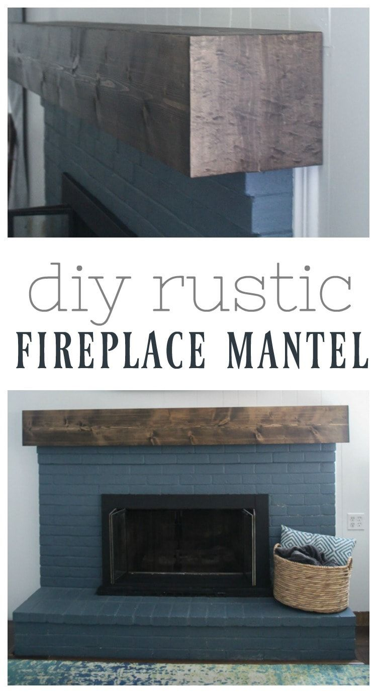 DIY rustic fireplace mantel: the cure for a boring fireplace - Lovely Etc.