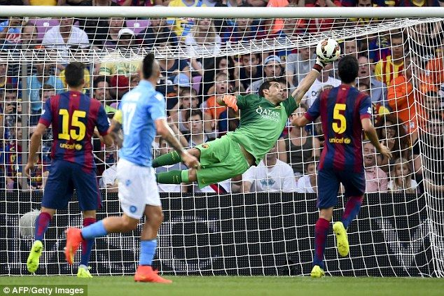 Good start: Claudio Bravo made a great save early on to on his first appearance for the club