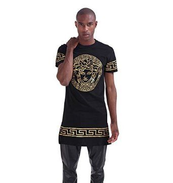 Pizoff Mens Unisex Medusa Print Solid Color Extended Long Side Zipper T Shirt P3194-Black-XL