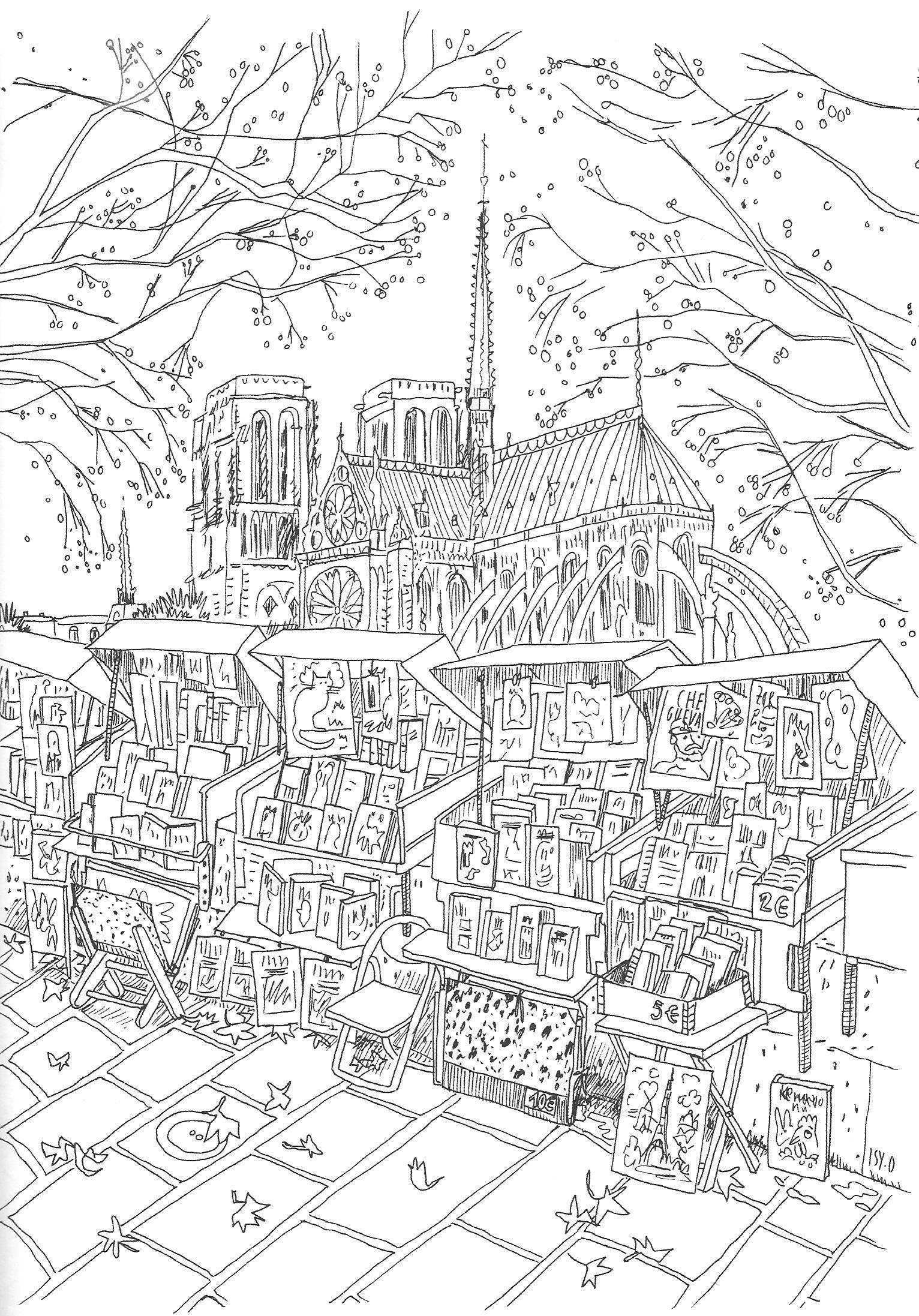 Coloriage Les Bouquinistes Devant Notre Dame De Paris Coloring