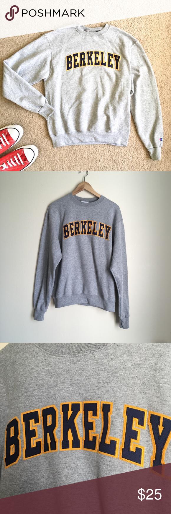 Champion Berkeley Sweatshirt Uc Gray Letters Grey Sweatshirt Sweatshirts Sweatshirt Tops [ 1740 x 580 Pixel ]
