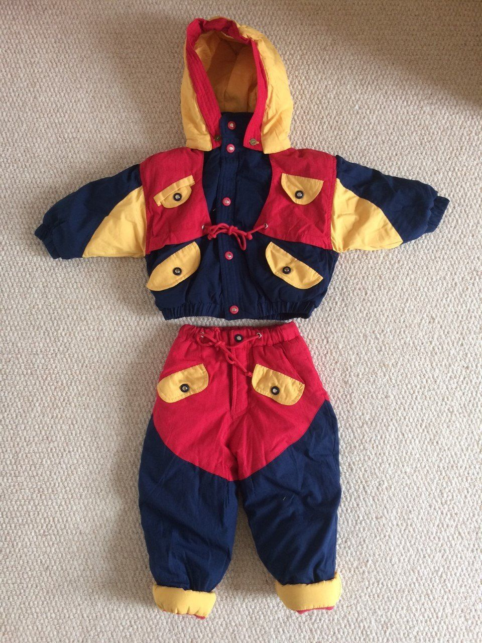 a8860f384 Vintage 90s Childs Kids Multi Colour Padded Ski Snow Suit Jacket Trousers  Age 2 by WilderPeople on Etsy
