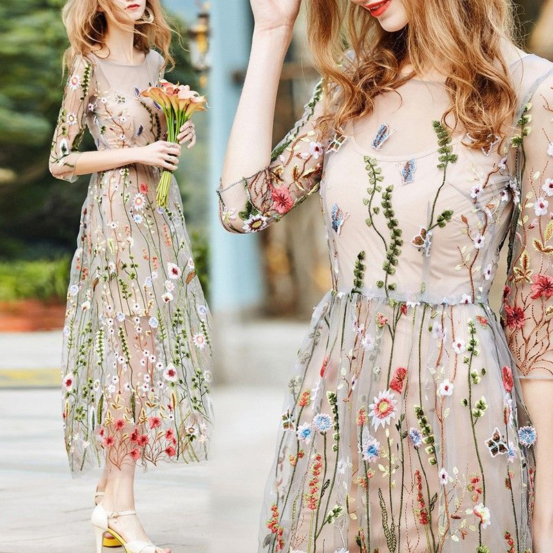Women s Casual Beach 3 4 Sleeve Embroidery Floral Pattern See ... 9f34f0fa1