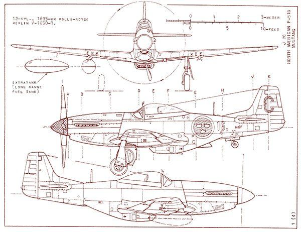 North American P-51D Mustang - Blueprint Poster | Fly Away | Mustang
