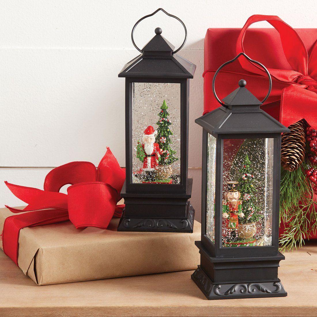 Black decorative lantern with acrylic Figurines in