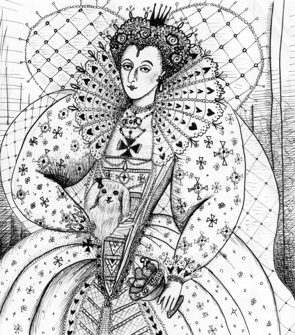 Queen Elizabeth I With Maltese Dog By Taraozella Deviantart Com On Deviantart Coloring Pages Heart Coloring Pages Queen Photos