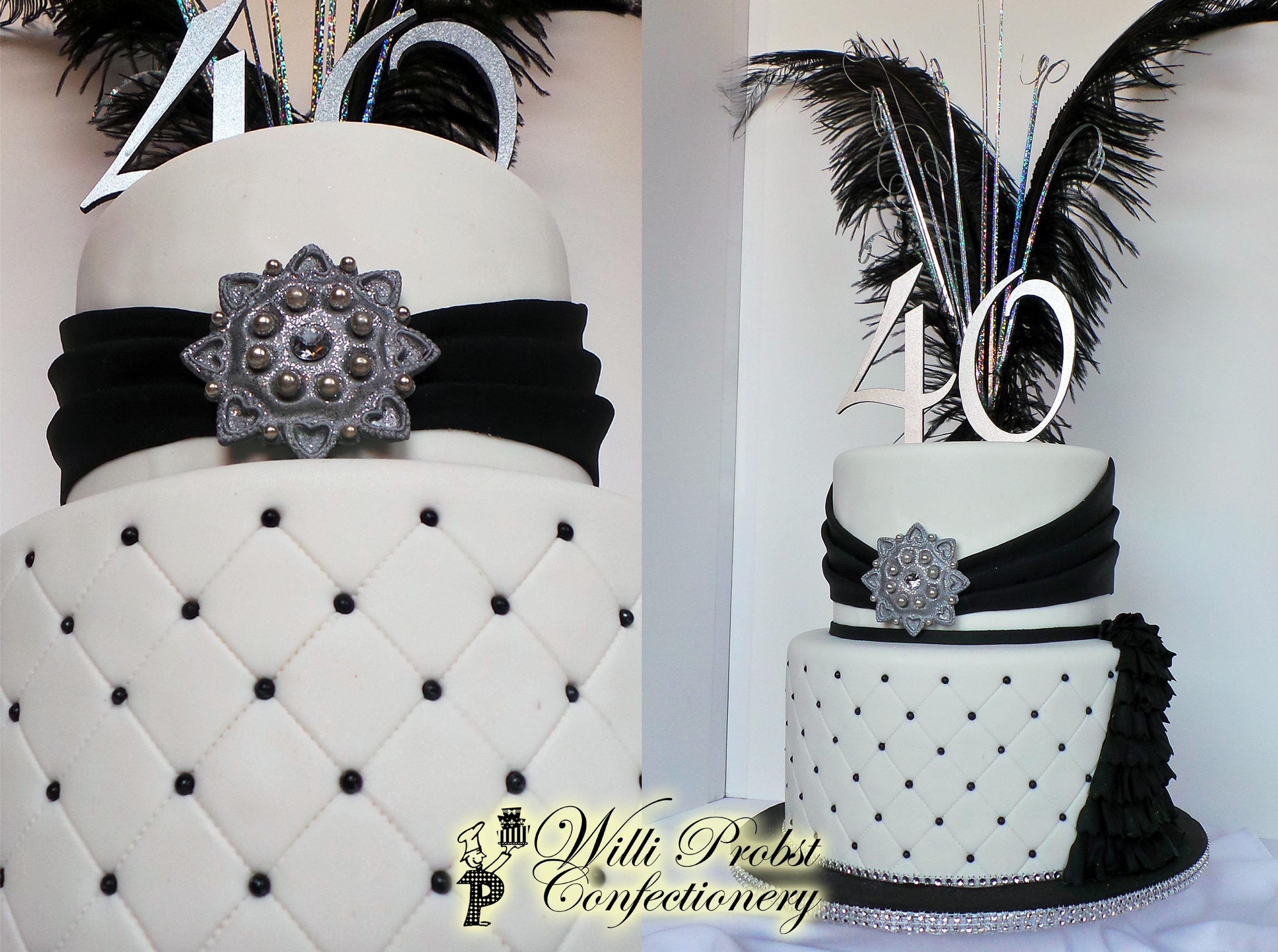 Black White Amp Silver Elegant 40th Birthday Cake
