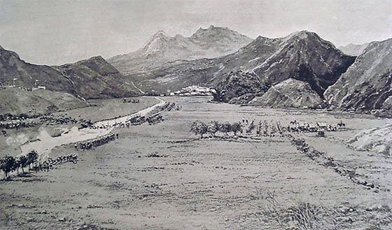 11th Bengal Lancers of the Chitral Relief Force crossing the Swat River
