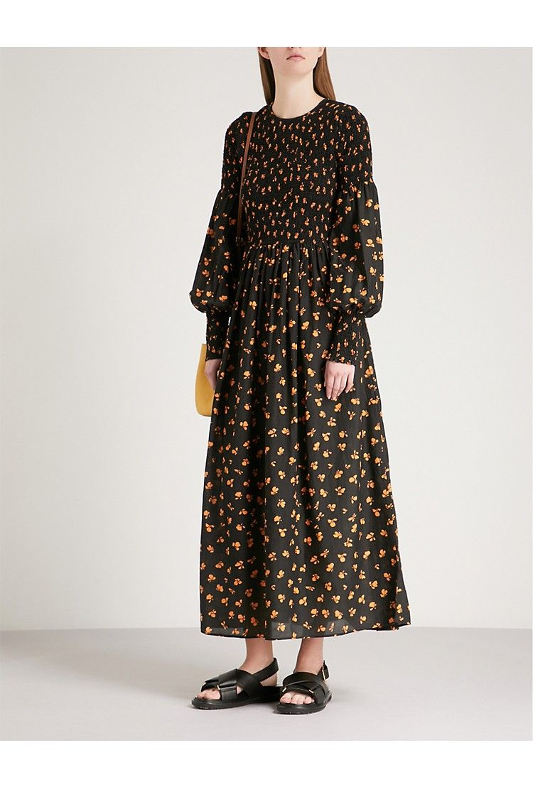 9bd5b7d6 GANNI Beacon smocked cotton and silk-blend dress | Fashion | Dresses ...