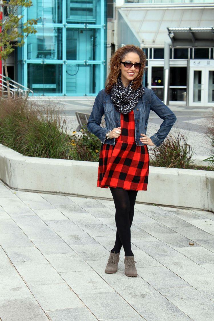 Kleid rot schwarz kariert