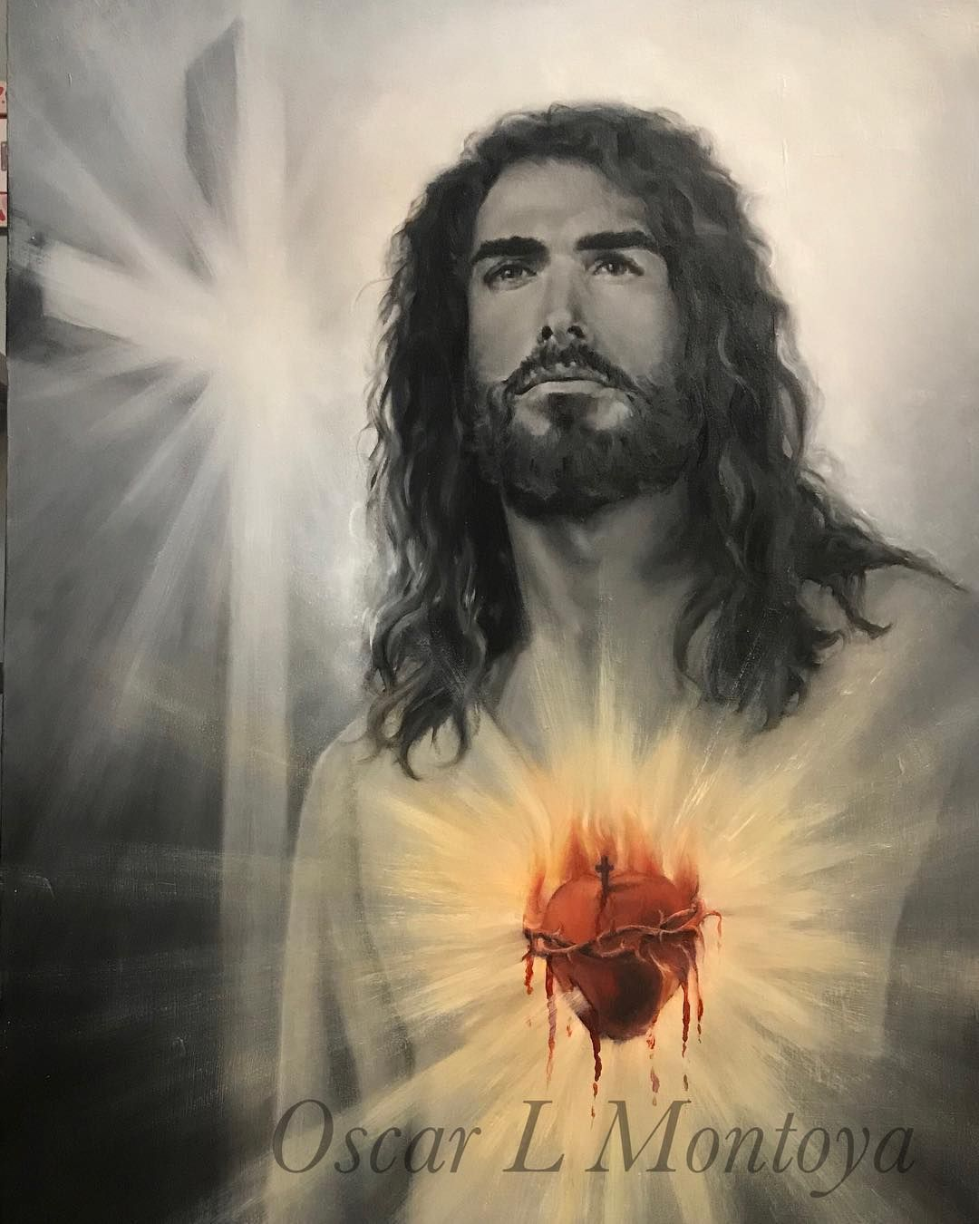 Sacred Heart Of Jesus Artist Collection Corazon De Jesus Oil On Canvas Life Size Portrait Oilpainting Drawing Rea Realistic Drawings Oil Painting Jesus