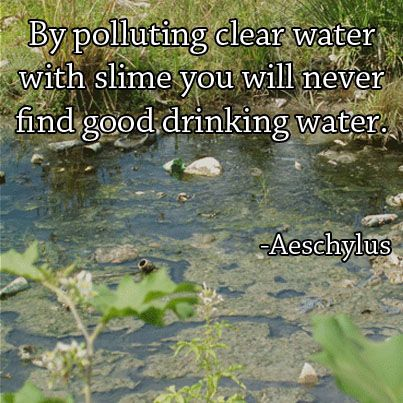 By polluting clear water...