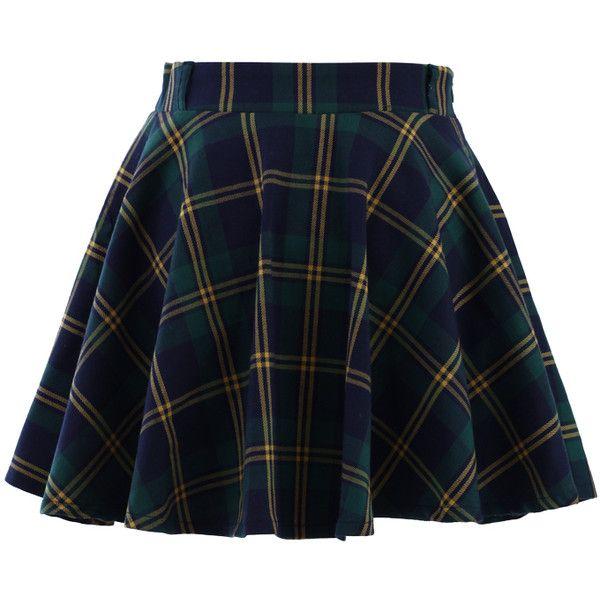 Green Plaid Check Skater Skirt (120 BRL) ❤ liked on Polyvore featuring skirts, bottoms, faldas, skater skirt, polka dot skirts, tartan skirt, blue plaid skirt and flared skirt