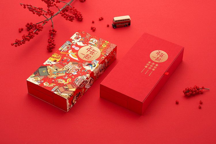 Chinese gift box for spring festival market with modern