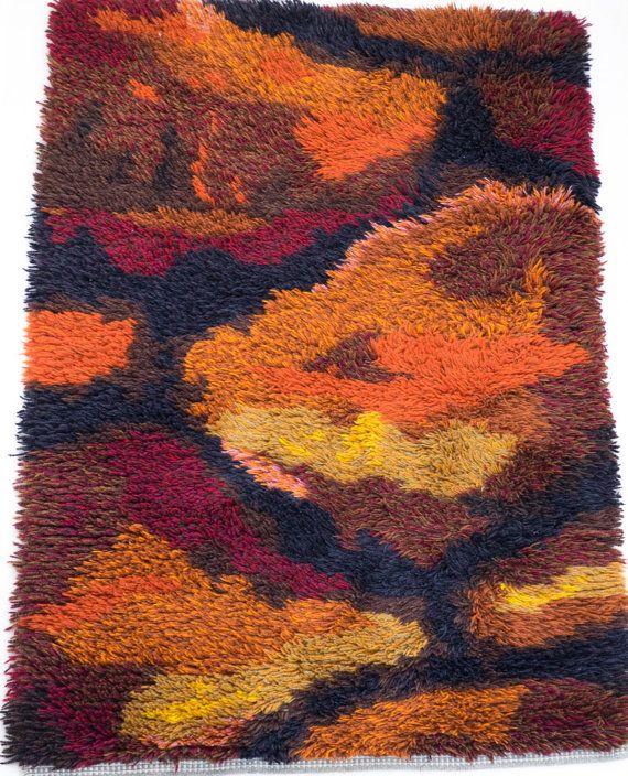 Vintage Danish Modern Wool Rya Rug Mid Century By Wohnstadt