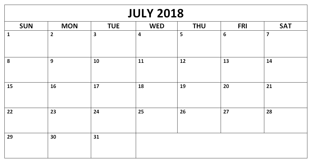 Editable July 2018 Word Calendar 2018 Calendar Templates