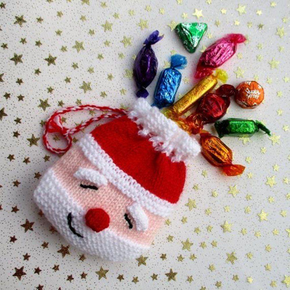 Secret Santa Goody Bag Knitting Pattern By Toyshelf Christmas Knitting Patterns Free Christmas Knitting Patterns Christmas Knitting